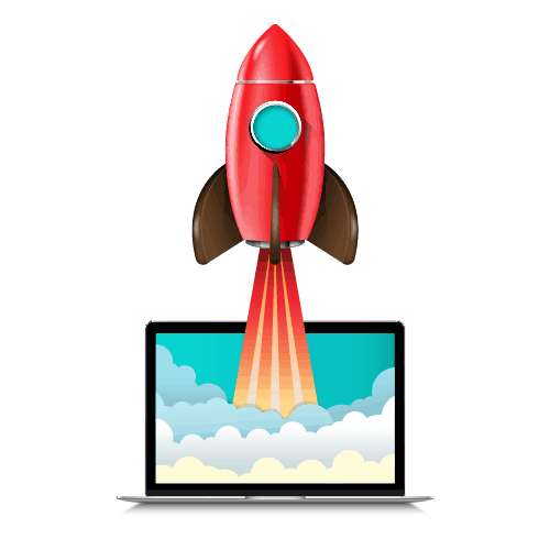 a graphic displaying a rocket coming off of a computer to exemplify what engagement on social media is like