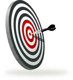 Graphic of a dartboard to depict a target market in business advertising