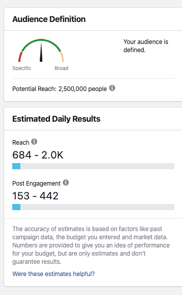 facebook advertising ad set setup page audience size